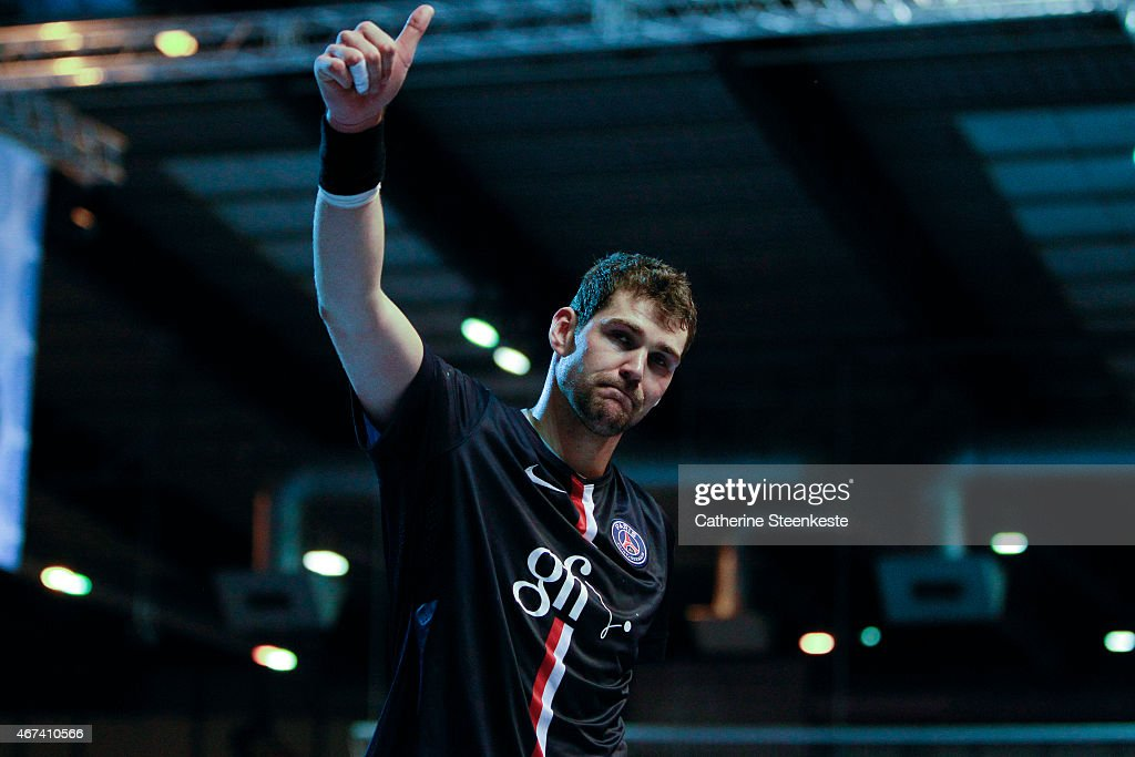 <a gi-track='captionPersonalityLinkClicked' href=/galleries/search?phrase=Jakov+Gojun&family=editorial&specificpeople=5678289 ng-click='$event.stopPropagation()'>Jakov Gojun</a> #15 is thanking the fans after winning the last 16 VELUX EHF Champions League game between PSG Handball and Dunkerque HB Grand Littoral at La Halle Carpentier on March 22, 2015 in Paris, France.