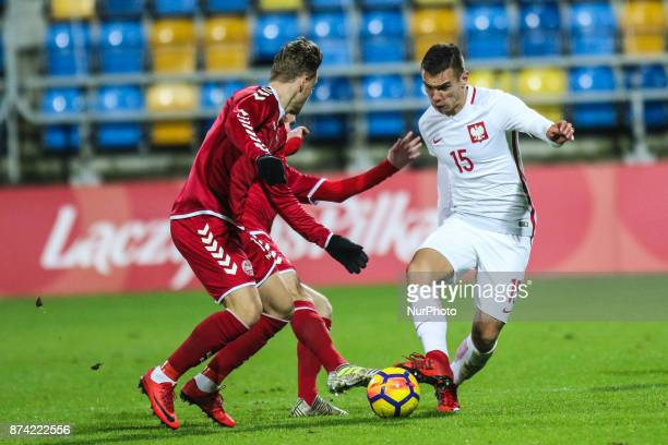Jakub Bartosz in action during UEFA U21 Championship Qualifier match between Poland and Denmark on November 14 2017 in Gdynia Poland