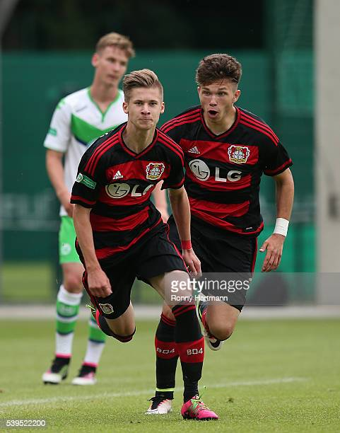 Jakub Bednarczyk of Leverkusen celebrates scoring his team's second goal with Riccardo Grym of Leverkusen during the U17 German Championship Semi...