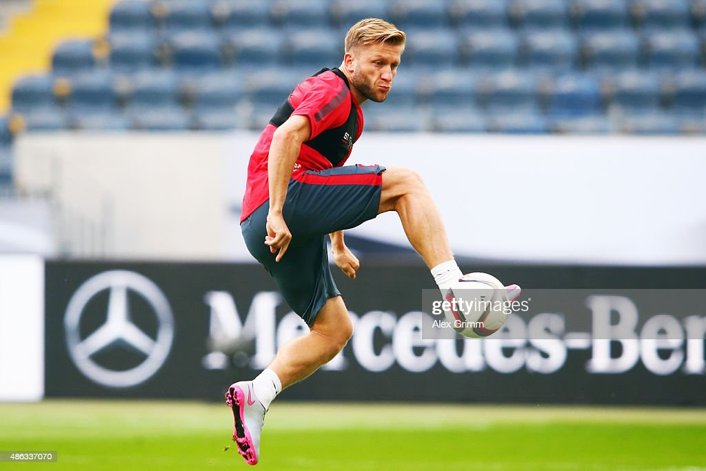 Jakub Blaszczykowski controles the ball during a Poland training session at CommerzbankArena on September 3 2015 in Frankfurt am Main Germany