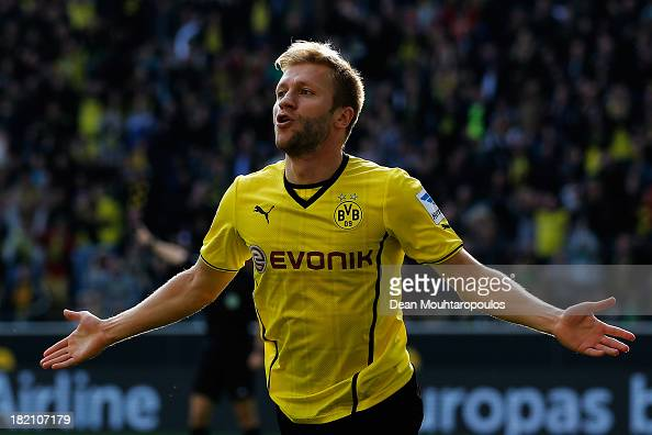 Jakub Blaszczykowski of Borussia Dortmund celebrates after he scores his teams fifth goal of the game during the Bundesliga match between Borussia...