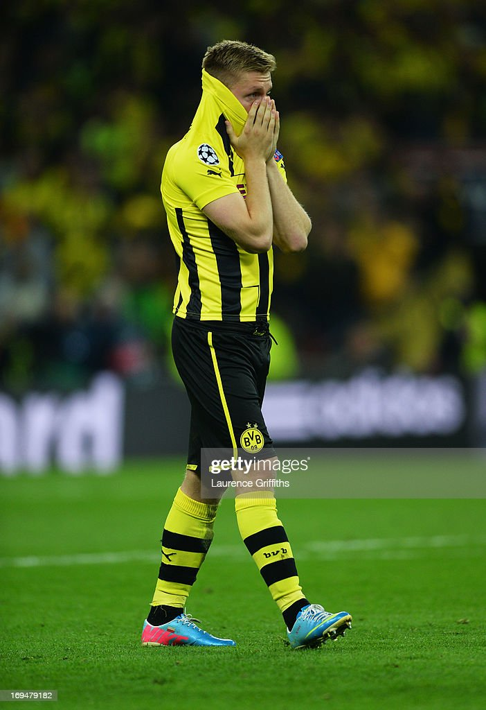 Jakub Blaszczykowski of Borussia Dortmund shows his dejection after losing the UEFA Champions League final match against FC Bayern Muenchen at...