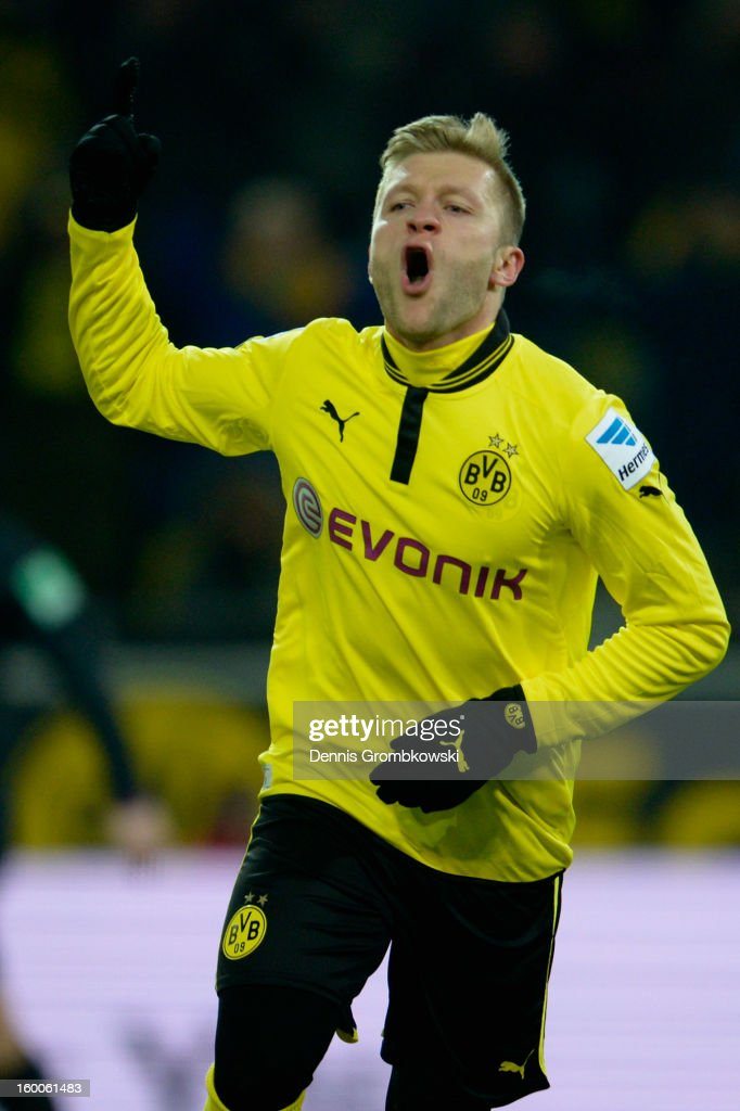 Jakub Blaszczykowski of Dortmund celebrates after scoring a goal during the Bundesliga match between Borussia Dortmund and 1 FC Nuernberg at Signal...