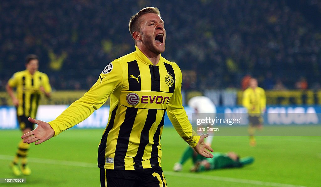 Jakub Blaszczykowski of Dortmund celebrates after scoring his teams third goal during the UEFA Champions League round of 16 second leg match between Borussia Dortmund and Shakhtar Donetsk at Signal Iduna Park on March 5, 2013 in Dortmund, Germany.