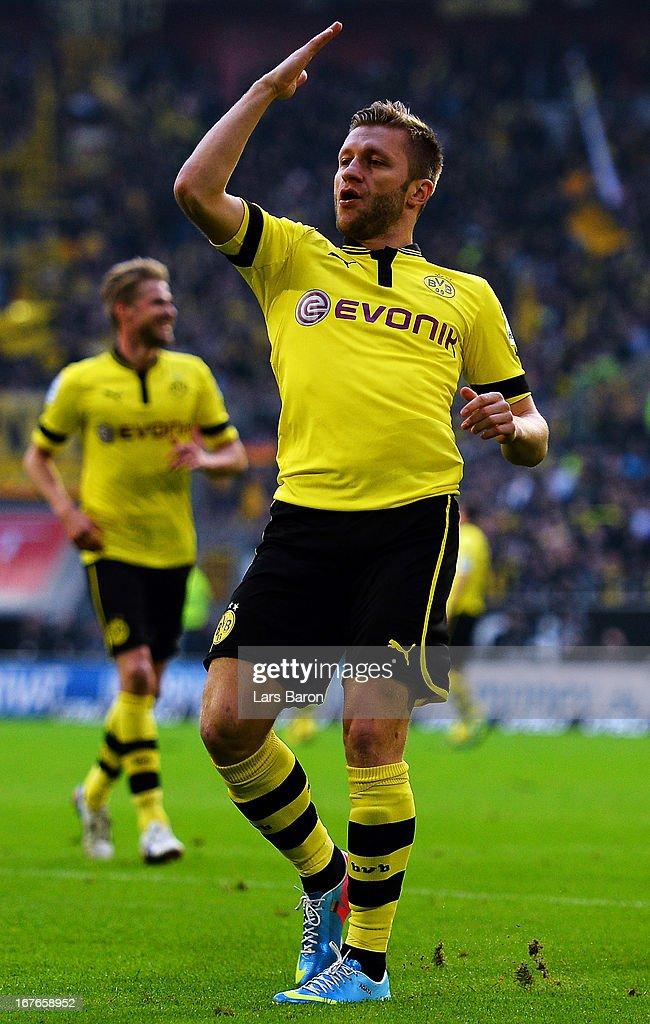 Jakub Blaszczykowski of Dortmund celebrates after scoring his teams second goal during the Bundesliga match between Fortuna Duesseldorf 1895 and...