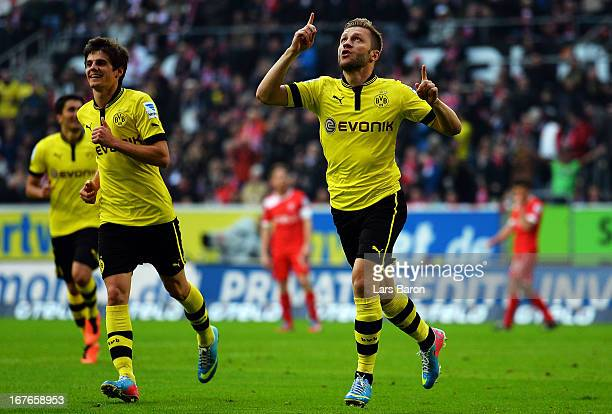 Jakub Blaszczykowski of Dortmund celebrates after scoring his teams second goal during the Bundesliga match between Fortuna Duesseldorf 1895 and...