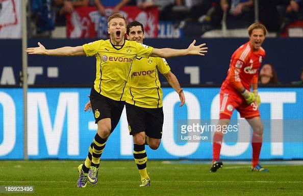 Jakub Blaszczykowski of Dortmund celebrates after scoring his teams third goal during the Bundesliga match between FC Schalke 04 and Borussia...