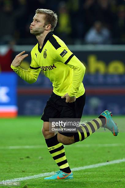 Jakub Blaszczykowski of Dortmund celebrates the first goal during the Bundesliga match between Borussia Dortmund and Fortuna Duesseldorf at Signal...