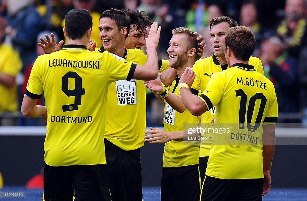 Jakub Blaszczykowski of Dortmund celebrates with team mates after scoring his teams second goal during the Bundesliga match between Borussia Dortmund and Bayer 04 Leverkusen at Signal Iduna Park on September 15, 2012 in Dortmund, Germany.