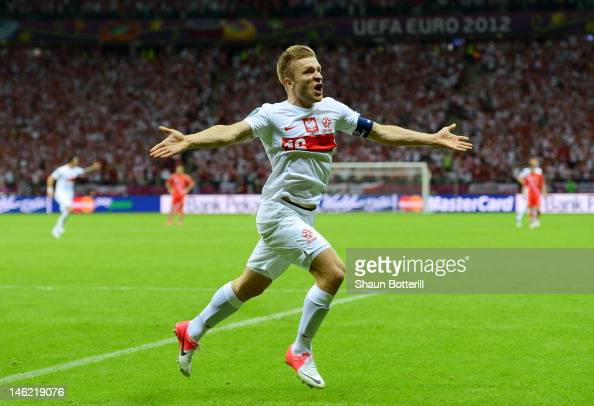 Jakub Blaszczykowski of Poland celebrates scoring their first goal during the UEFA EURO 2012 group A match between Poland and Russia at The National...