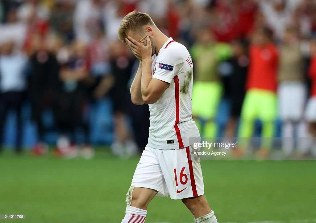 Jakub Blaszczykowski of Poland reacts after missing a shot in a penalty shoot-out during the Euro 2016 quarter-final football match between Poland and Portugal at the Stade Velodrome in Marseille on June 30, 2016.