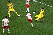 Jakub Blaszczykowski of Poland scores his team's first goal during the UEFA EURO 2016 Group C match between Ukraine and Poland at Stade Velodrome on...
