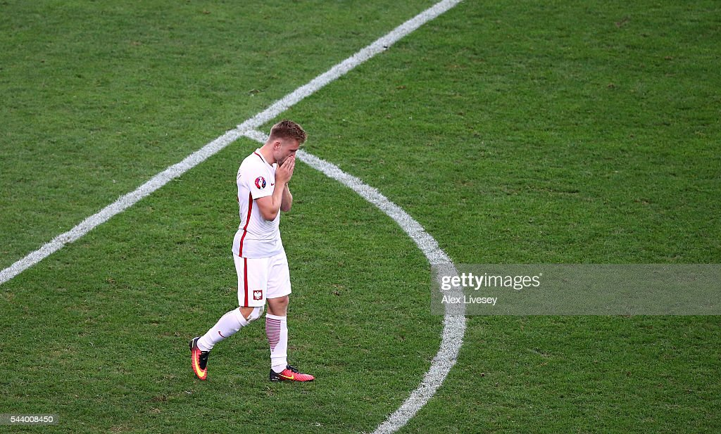 Jakub Blaszczykowski of Poland shows his dejection after his penalty is saved at the penalty shootout during the UEFA EURO 2016 quarter final match between Poland and Portugal at Stade Velodrome on June 30, 2016 in Marseille, France.