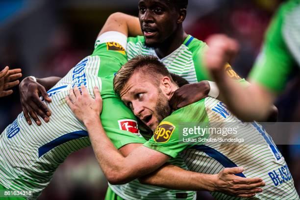 Jakub Blaszczykowski of Wolfsburg celebrates his goal during the Bundesliga match between Bayer 04 Leverkusen and VfL Wolfsburg at BayArena on...