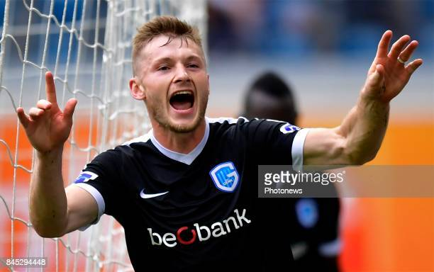 Jakub Brabec defender of KRC Genk celebrates scoring the equalising goal during the Jupiler Pro League match between KAA Gent and KRC Genk at the...