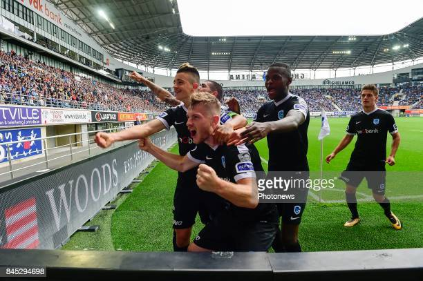 Jakub Brabec defender of KRC Genk celebrates scoring the equalising goal with teammate Edon Zhegrova forward of KRC Genk during the Jupiler Pro...