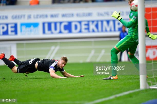 Jakub Brabec defender of KRC Genk scoring the equalising goal during the Jupiler Pro League match between KAA Gent and KRC Genk at the Ghelamco Arena...