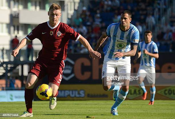Jakub Brabec of AC Sparta Prague in action during the Gambrinus Liga match between FK Mlada Boleslav and AC Sparta Prague at the Mestsky Stadion on...
