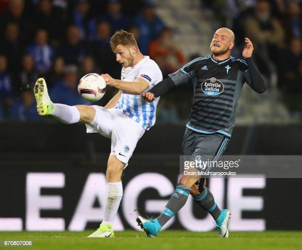 Jakub Brabec of Genk clears from John Guidetti of Celta Vigo during the UEFA Europa League quarter final second leg between KRC Genk and Celta Vigo...