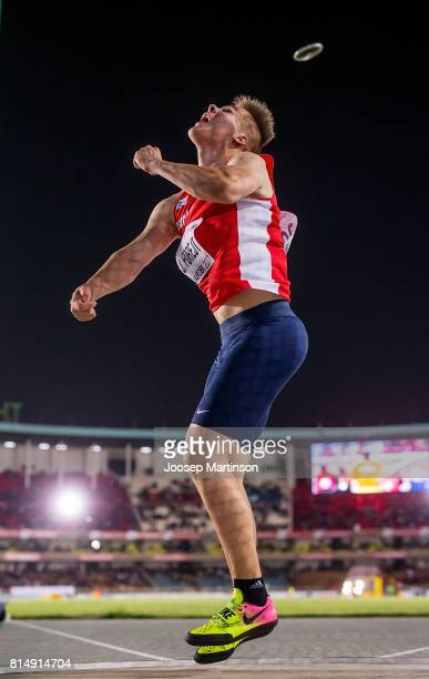 Jakub Forejt of Czech Republic competes in the boys discus throw final during day 4 of the IAAF U18 World Championships at Moi International Sports...