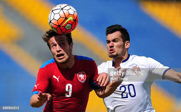 Jakub Fulnek of Czech Republic challenges for the aerial ball with Paolo Henrique of Portugal during the Final of the Toulon Tournament between...