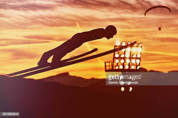Jakub Janda of Czech Republic soars through the air during his competition jump on Day 2 of the 64th Four Hills Tournament event on December 29 2015...
