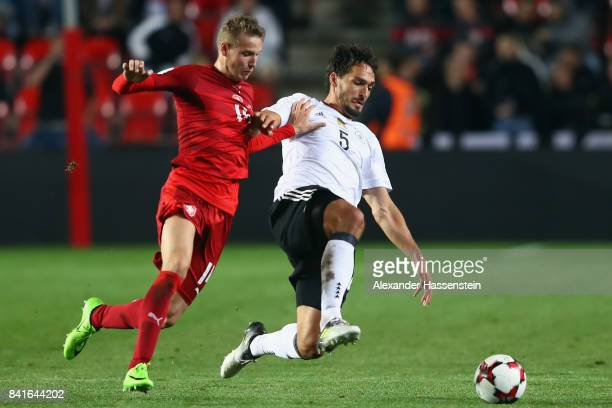 Jakub Jankto of Czech Republik is challenged by Mats Hummels of Germany during the FIFA World Cup Russia 2018 Group C Qualifier between Czech...