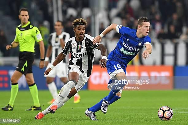Jakub Jankto of Udinese Calcio in action against Mario Lemina of Juventus FC during the Serie A match between Juventus FC and Udinese Calcio at...