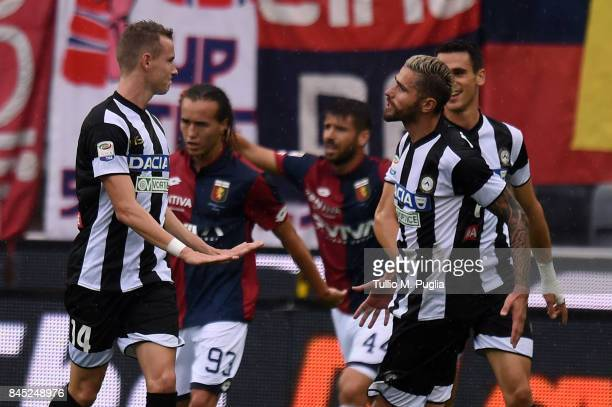 Jakub Jankto of Udinese celebrates after scoring the opening goal during the Serie A match between Udinese Calcio and Genoa CFC at Stadio Friuli on...