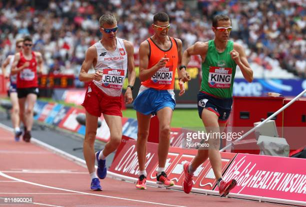 LR Jakub Jelonek Rafal Sikora and Dominic King in the Men's One Mile Walk during Muller Anniversary Games at London Stadium in London on July 09 2017