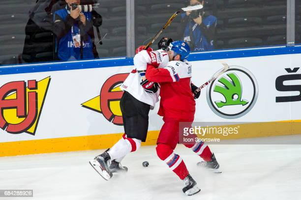 Jakub Jerabek clashes with Tanner Richard during the Ice Hockey World Championship between Czech Republic and Switzerland at AccorHotels Arena in...