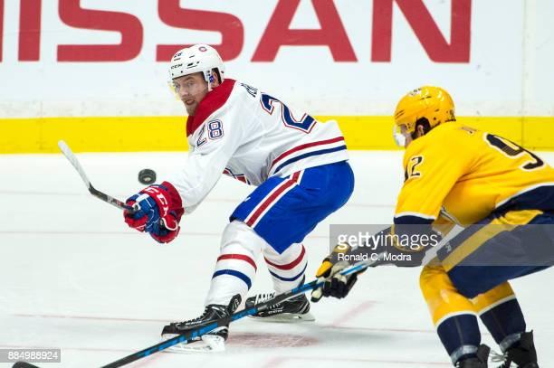 Jakub Jerabek of the Montreal Canadiens skates against the Nashville Predators during an NHL game at Bridgestone Arena on November 22 2017 in...