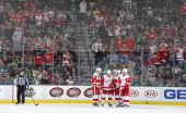 Jakub Kindl Kyle Quincey and the Detroit Red Wings celebrate a win against the Dallas Stars at the American Airlines Center on January 4 2014 in...