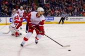 Jakub Kindl of the Detroit Red Wings controls the puck during the game against the Columbus Blue Jackets on March 25 2014 at Nationwide Arena in...