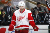 Jakub Kindl of the Detroit Red Wings during a break in play against the San Jose Sharks at SAP Center on January 9 2014 in San Jose California