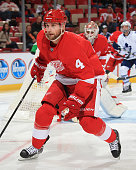 Jakub Kindl of the Detroit Red Wings follows the play against the Toronto Maple Leafs during a NHL game on October 18 2014 at Joe Louis Arena in...