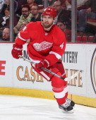 Jakub Kindl of the Detroit Red Wings follows the play against the Carolina Hurricanes during an NHL game on April 11 2014 at Joe Louis Arena in...