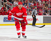 Jakub Kindl of the Detroit Red Wings follows the play during an NHL game against the Tampa Bay Lightning at Joe Louis Arena on October 13 2015 in...