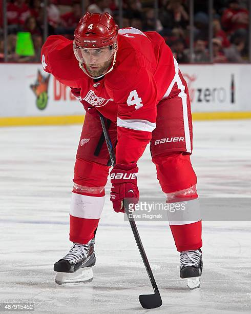 Jakub Kindl of the Detroit Red Wings gets set for the faceoff during a NHL game against the Arizona Coyotes on March 24 2015 at Joe Louis Arena in...