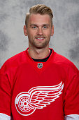 Jakub Kindl of the Detroit Red Wings has his official NHL head shot taken at Centre Ice Arena on September 17 2015 in Traverse City Michigan