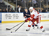 Jakub Kindl of the Detroit Red Wings in action against the New York Rangers during there game at Madison Square Garden on November 5 2014 in New York...