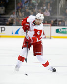 Jakub Kindl of the Detroit Red Wings in action against the San Jose Sharks at SAP Center on February 26 2015 in San Jose California