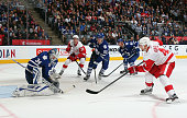 Jakub Kindl of the Detroit Red Wings scores the game winning goal at 217 of overtime against the Toronto Maple Leafs at the Air Canada Centre on...