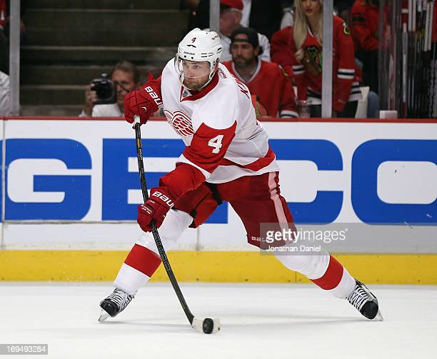 Jakub Kindl of the Detroit Red Wings shoots against the Chicago Blackhawks in Game Five of the Western Conference Semifinals during the 2013 NHL...
