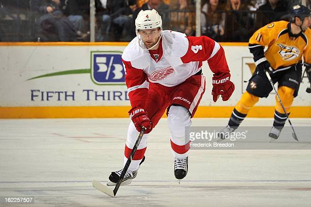 Jakub Kindl of the Detroit Red Wings skates against the Nashville Predators at the Bridgestone Arena on February 19 2013 in Nashville Tennessee