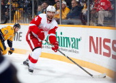 Jakub Kindl of the Detroit Red Wings skates against the Nashville Predators at Bridgestone Arena on December 30 2013 in Nashville Tennessee