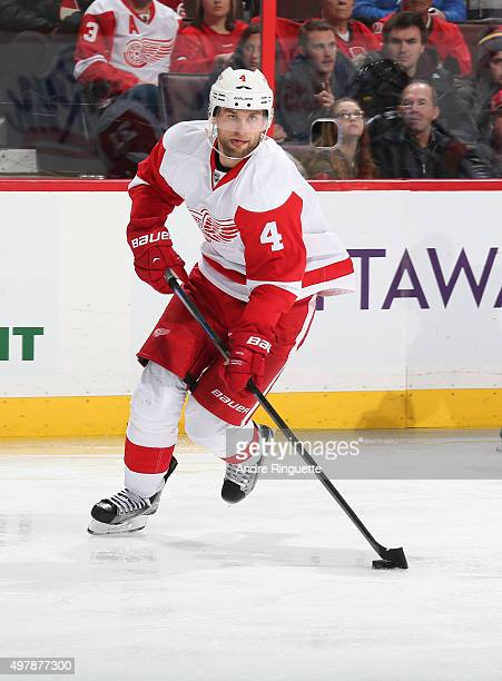Jakub Kindl of the Detroit Red Wings skates against the Ottawa Senators at Canadian Tire Centre on November 16 2015 in Ottawa Ontario Canada