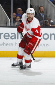 Jakub Kindl of the Detroit Red Wings skates against the San Jose Sharks at SAP Center on January 9 2014 in San Jose California