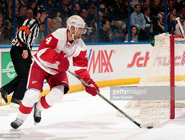 Jakub Kindl of the Detroit Red Wings skates against the St Louis Blues during an NHL game on April 13 2014 at Scottrade Center in St Louis Missouri