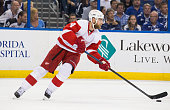 Jakub Kindl of the Detroit Red Wings skates against the Tampa Bay Lightning during Game Seven of the Eastern Conference Quarterfinals during the 2015...